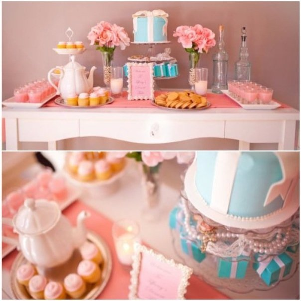 tiffany inspired bridal shower dessert table