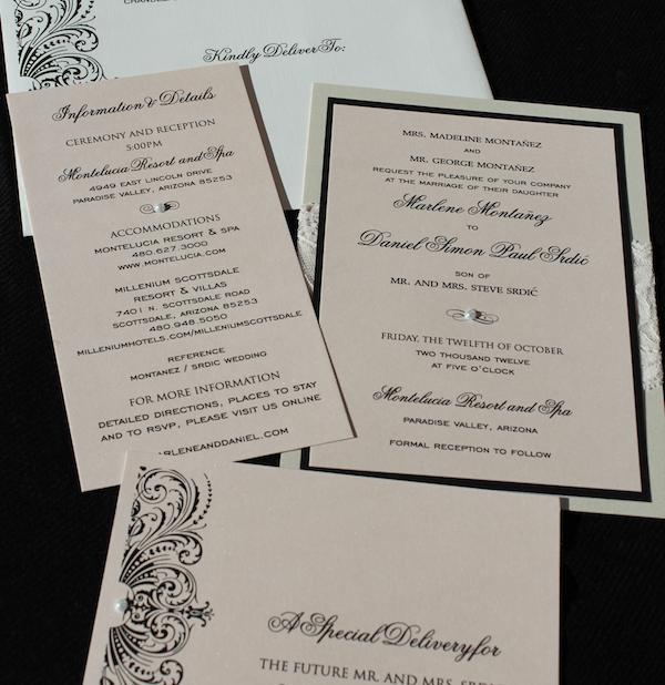 Blush, Lace, Black And Ivory Luxury Wedding Invitation Suite