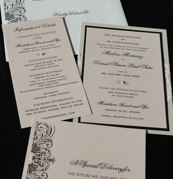 blush, lace, black and ivory luxury wedding invitation suite