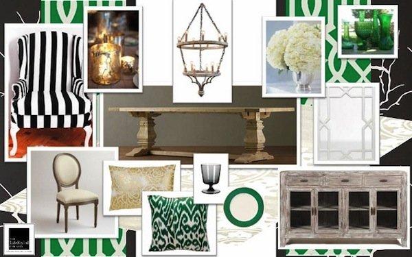 kelly green dining room