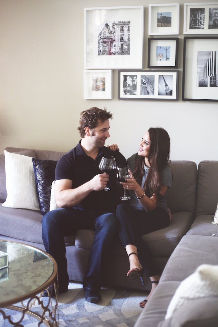 We love to unwind with a good red wine after a busy day of entertaining. See more of my last-minute entertaining tips on the blog