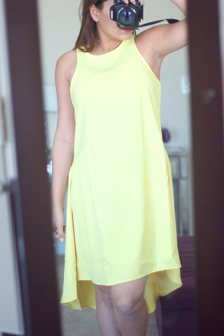 Pleione ruffled yellow dress, see what else was in my May trunk from Trunk Club!