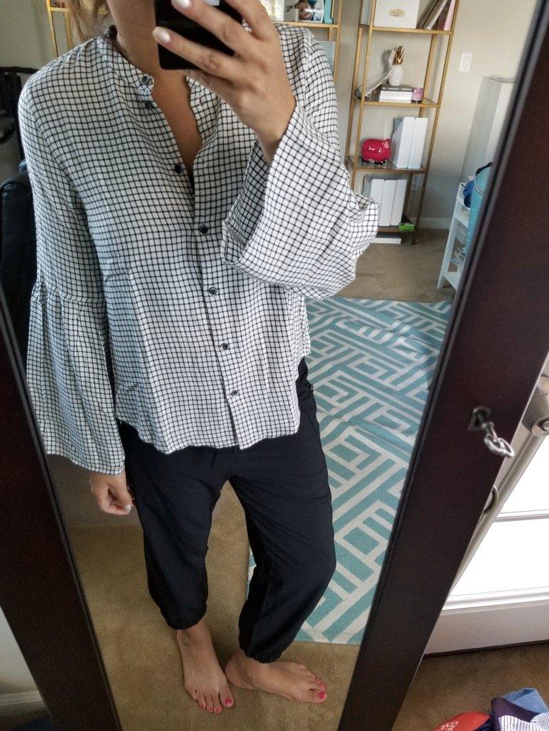 madewell plaid bell sleeve shirt