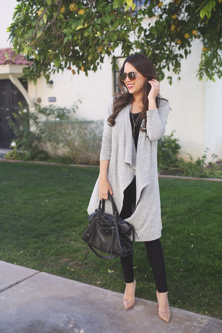 gray waterfall cardigan with all black outfit | Cute cardigan outfit for spring! Lifewithmar.com