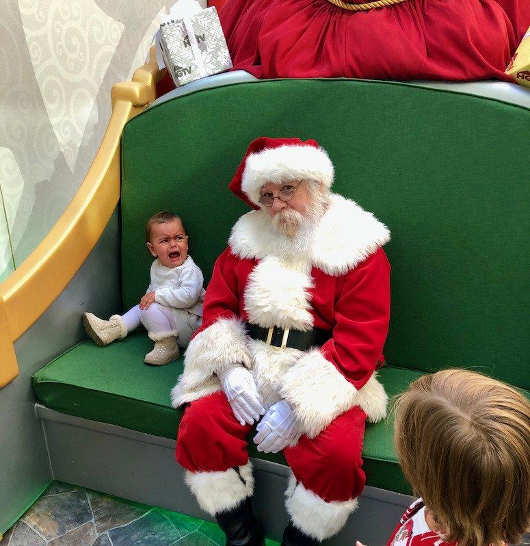 baby crying santa photos. HGTV Santa HQ