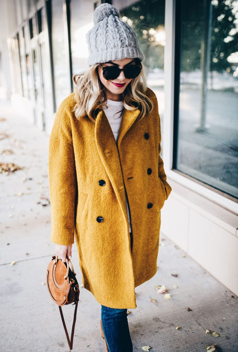 mustard yellow fall coat