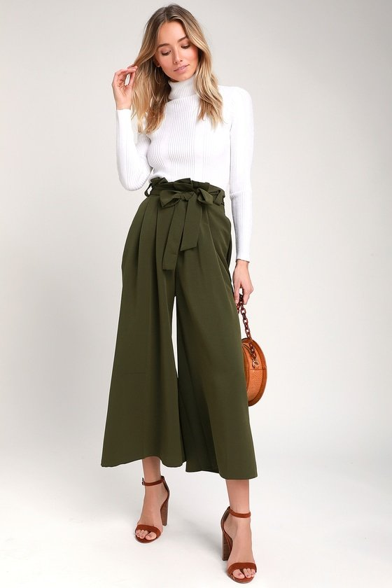 olive green paper bag waist pants | how to wear paper bag waist pants and outfit ideas | lifewithmar.com