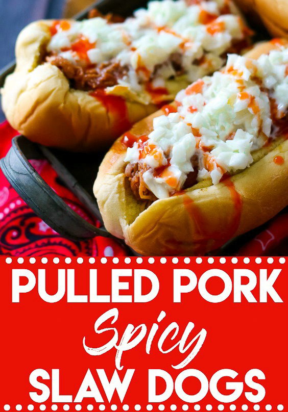 Pulled Pork Spicy Slaw Dogs are going to be your new favorite dish this summer!! Comes together super quick. Perfect easy dinner!