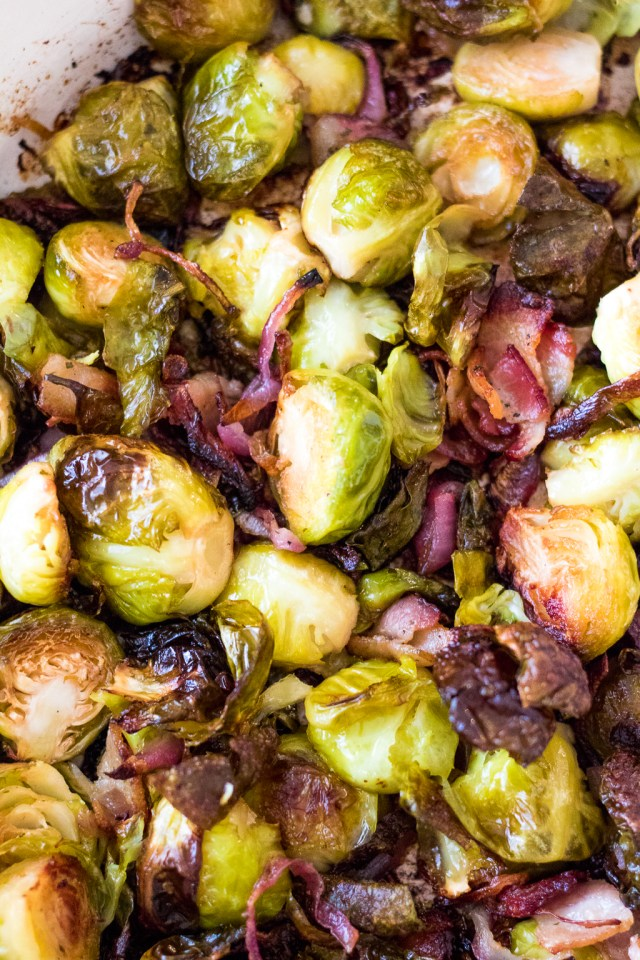 Bacon Ranch Brussel Sprouts are roasted with crispy bacon, sweet red onion and all that ranch flavor everyone loves! A real crowdpleaser!