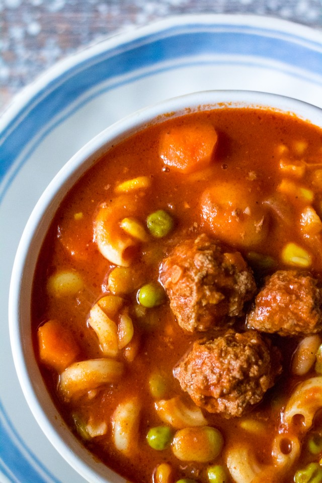 Meatball Vegetable Soup is the ultimate comfort food. Tender meatballs, your favorite veggies and pasta simmered in a delicious tomato base, yum!