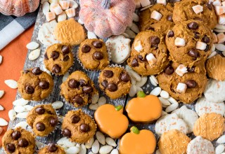 Fall Dessert Tray is gorgeous and loaded with fabulous treats like these Three Ingredient Chocolate Chip Pumpkin Cookies, yum!