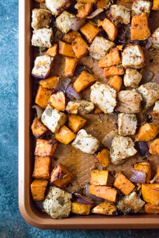 Smoky Sweet Potato and Pork Hash is your new favorite sheet pan meal. Flavorful pork, roasted sweet potatoes, caramelized onions come together in no time!