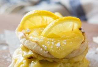 Lemon English Muffin French Toast is our new favorite breakfast.  The nooks and crannies of the English Muffin is perfect for the tart lemon curd!