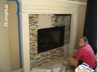 glass mosaic tile fireplace | Life with the P's