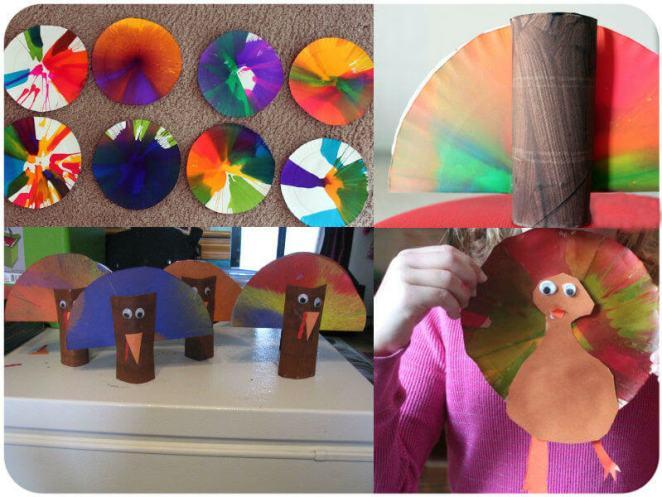 Turkey Spin Art Thanksgiving Activities