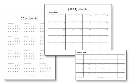 *New* Printable 2014 Calendars > Life Your Way