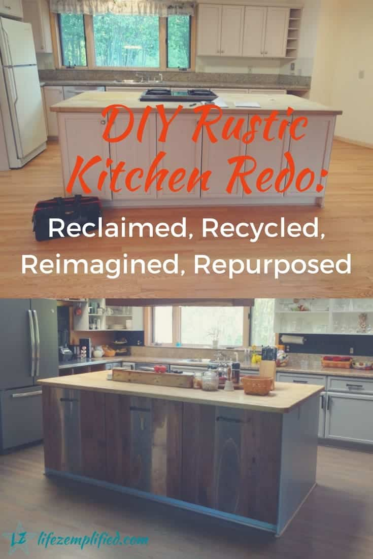 Budget-friendly DIY rustic kitchen redo ideas. A dated 1990's kitchen becomes warm, beautiful, and functional with reclaimed lumber and repurposed items.
