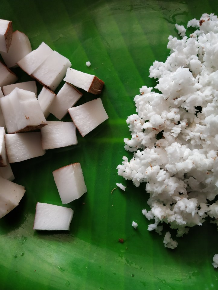 Virgin coconut oil easy to make from diced and grated coconut.