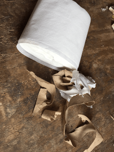 Toilet paper roll with cardboard core removed
