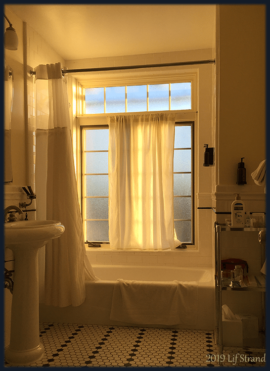 photo of morning light coming through a bathroom window at El Tovar 2019 Lif Strand photo