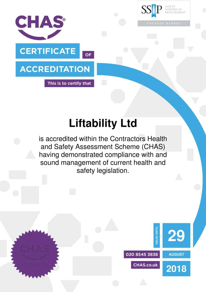 Liftability CHAS certificate 2017-2018
