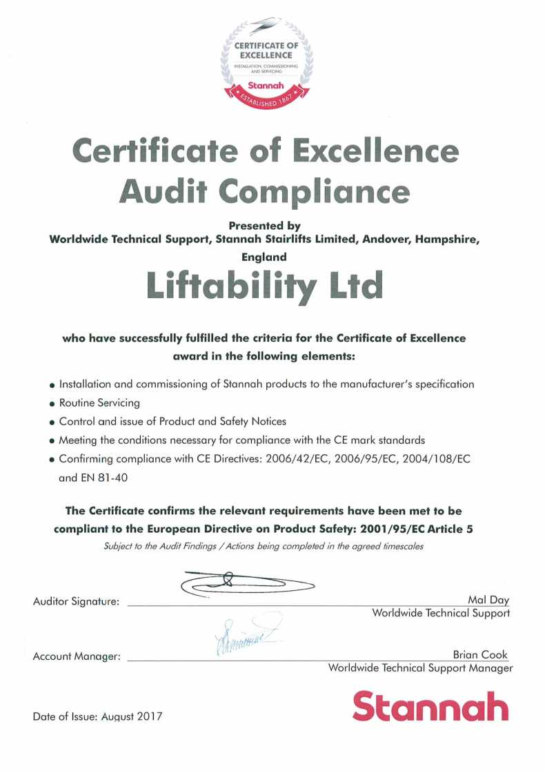 Stannah Certificate of Excellence Audit Compliance