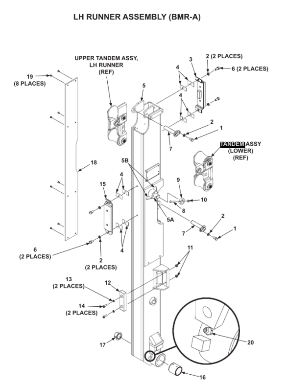 Maxon Lift Gate Tandem Roller Assembly for BMRA (268866
