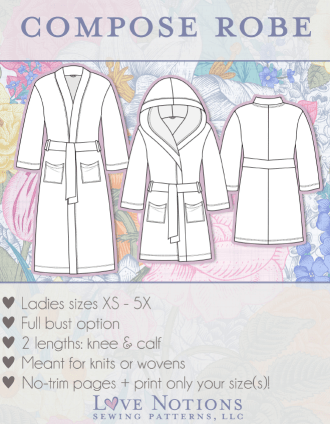 Step by step easy sewing tutorial on how to make a satin robe using the Compose robe pattern from Love Notions. This pattern works for knit and woven fabrics and I am showing all the sewing techniques in an easy to follow video sewing tutorial. This project is suited for beginners and can make the perfect Christmas gift.