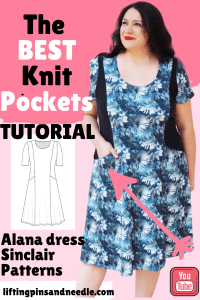 The Alana dress is an easy to sew knit dress with princess seams and genius pockets on the side panels.  I am sharing a step-by-step sewing tutorial on how to sew them. This post also contains a pattern review and other sewing aspects of this beautiful sewing PDF pattern from Sinclair patterns. #sinclairpatterns #alanadress #sewingprincessseams