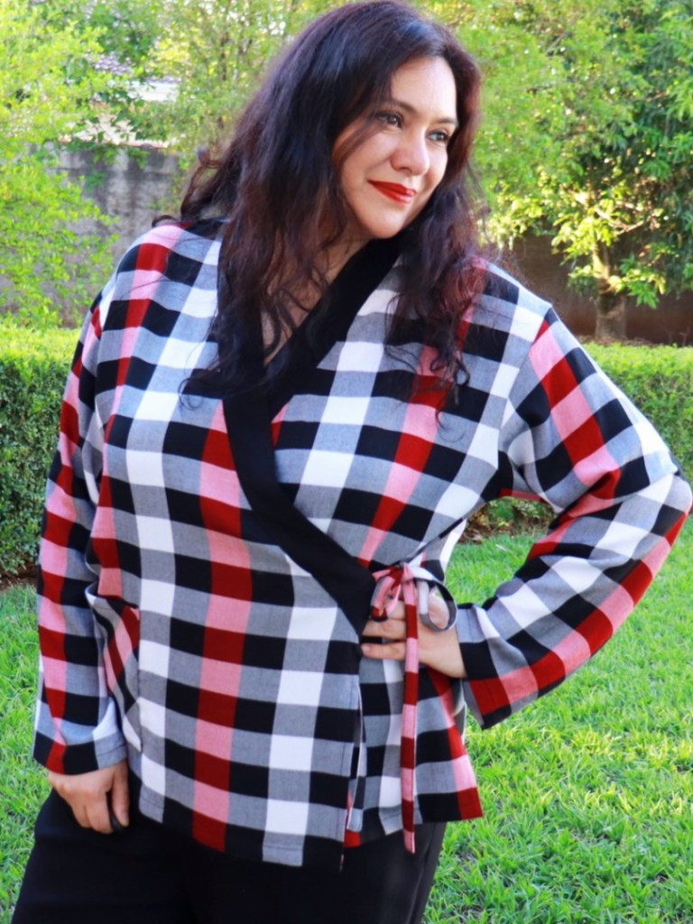 The Pine Cove Pyjamas are a unique design from Itch to Stitch sewing patterns. This one is made with Rayon twill that has check plaids and matching them is very possible.. With sizes 00-40US and made for woven fabric, you will enjoy this creative twist to the classic woven pajama. There are no buttons and facings making it comfortable for lounging and sleeping. This is a full pattern review with sewing tutorials and video tutorials included too. #itchtostitch #itchtostitchdesigns