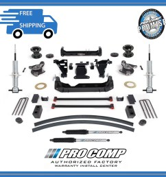 6 pro comp suspension lift kit 2014 2018 gm 1500 pickup w pro runner shocks [ 1307 x 1266 Pixel ]