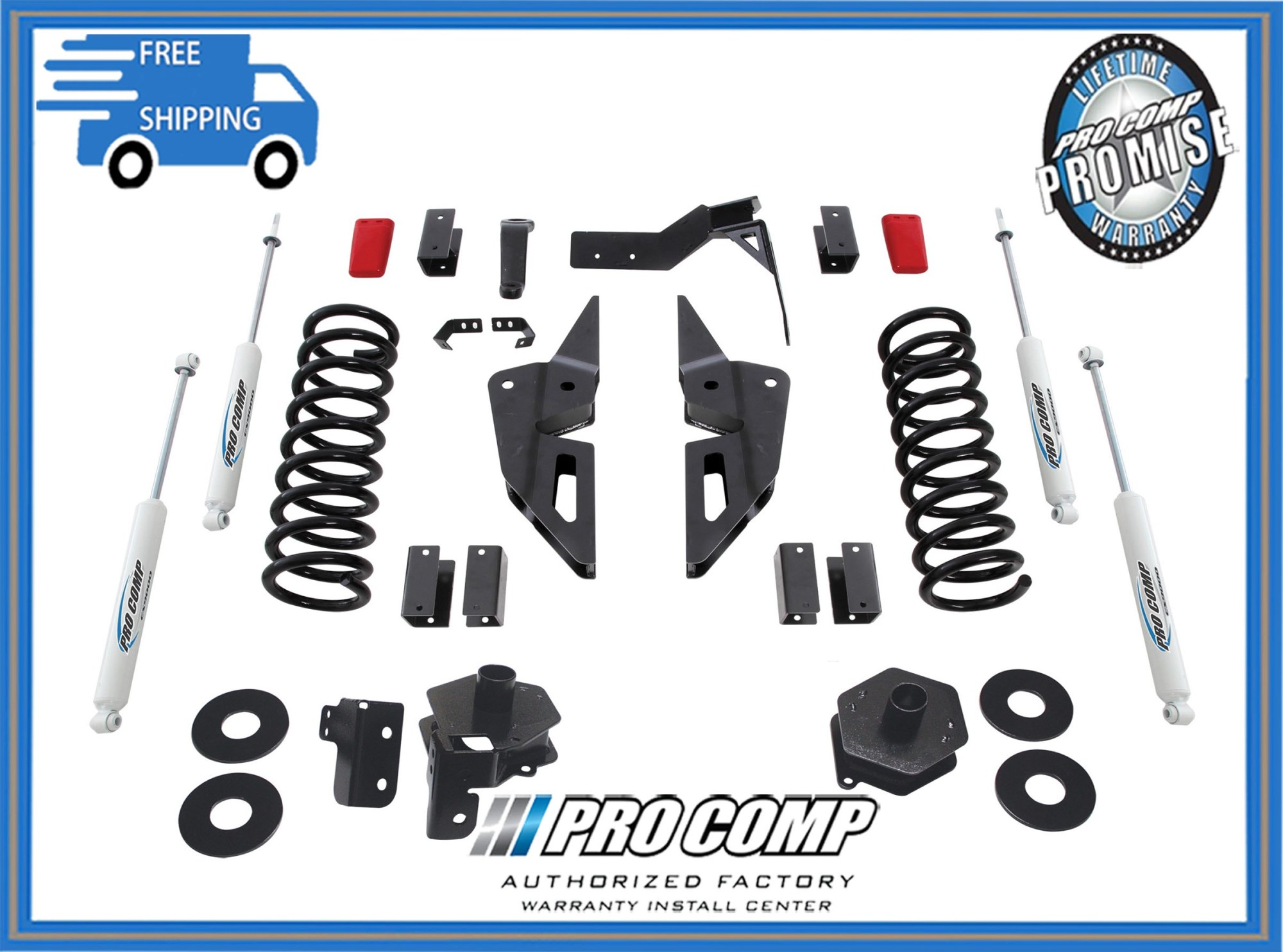 hight resolution of 4 pro comp stage ii suspension lift kit 2014 2017 dodge ram gas motor 2500 4x4
