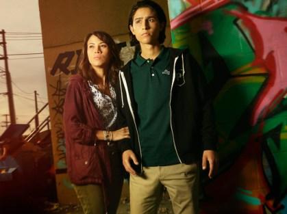 Elizabeth Rodriguez as Liza and Lorenzo James Henrie as Chris - Fear the Walking Dead _ Season 1, Gallery - Photo Credit: Frank Ockenfels 3/AMC