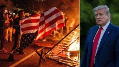 """صورة الولايات المتحدة تقع في فخ الفوضي وترامب يلقي باللوم على """"اليسار الراديكالي"""" والمراسلين !!"""