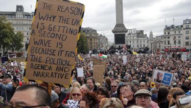 صورة حوادث خلال مظاهرة في لندن ضد قيود الوباء