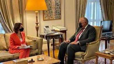 """صورة وزير الخارجية يستقبل رئيس مؤسسة """"آنا ليند"""" الأميرة ريم على"""