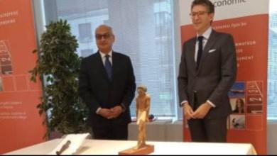 صورة السفارة المصرية فى بروكسل تسترد قطعتين أثريتين من الحكومة البلجيكية