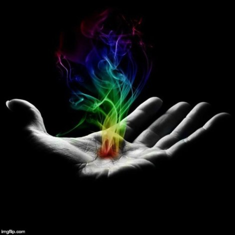 The reiki energy emanates from the palms of the hands