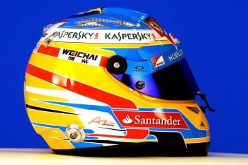Helmet of Ferrari Formula One driver Fernando Alonso