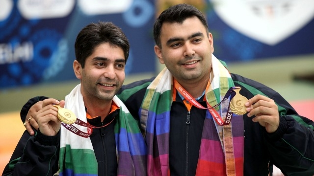 Gold medal winners in the Men's 10m Air Rifle Pairs, Abhinav Bindra and Gagan Narang on Day 2 of the 2010 Commonwealth Games in Delhi, India. (Photo courtesy - Getty Images)