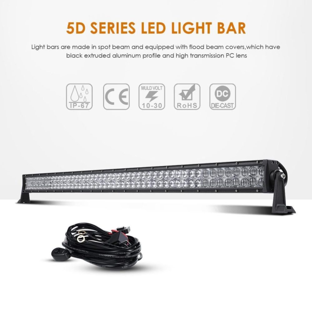 medium resolution of auxbeam 288w led work light driving light spot flood combo beam bar 5d lens for car