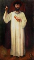 Portrait du grand maître de la Rose-Croix, Joséphin Péladan en habit de chœur, (1894)