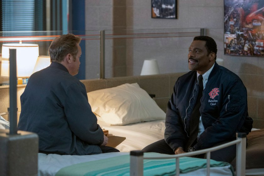 """CHICAGO FIRE -- """"Double Red"""" Episode 909 -- Pictured: (l-r) Christian Stolte as Randy Mouch"""" McHolland, Eamonn Walker as Wallace Boden -- (Photo by: Adrian S. Burrows Sr./NBC)"""