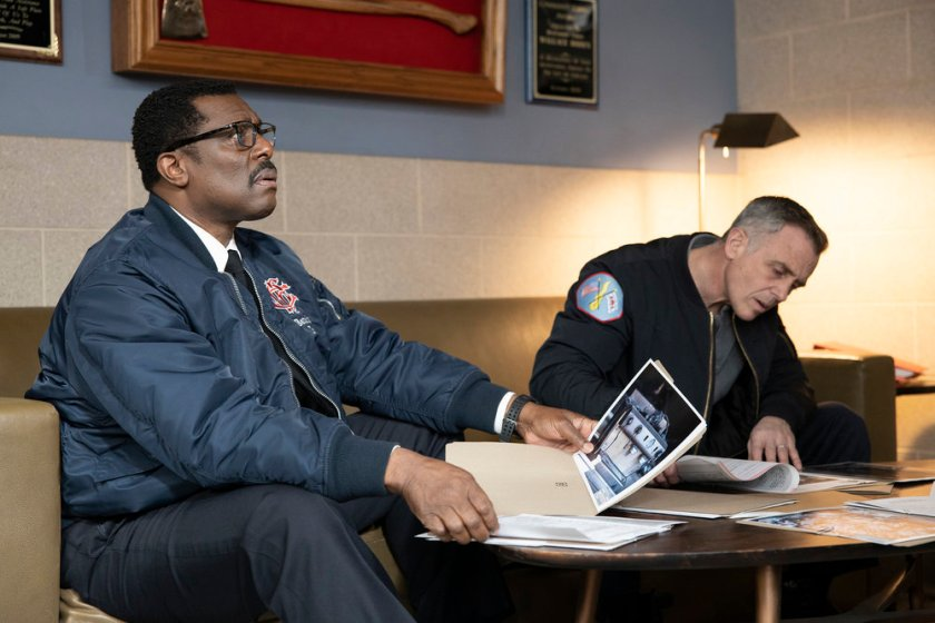 """CHICAGO FIRE -- """"One Crazy Shift"""" Episode 910 -- Pictured: (l-r) Eamonn Walker as Wallace Boden, David Eigenberg as Christopher Herrmann -- (Photo by: Adrian S. Burrows Sr./NBC)"""