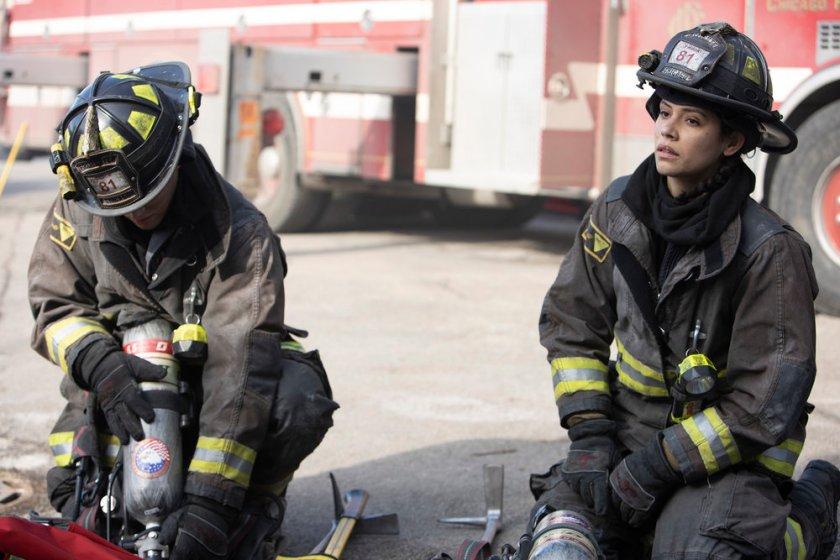 "CHICAGO FIRE -- ""One Crazy Shift"" Episode 910 -- Pictured: (l-r) Alberto Rosende as Blake Gallo, Miranda Rae Mayo as Stella Kidd -- (Photo by: Adrian S. Burrows Sr./NBC)"