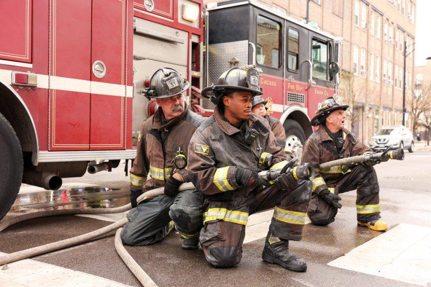"CHICAGO FIRE -- ""What Comes Next"" Episode 914 -- Pictured: (l-r) Daniel Kyri as Darren Ritter, David Eigenberg as Christopher Herrmann -- (Photo by: Adrian S. Burrows Sr./NBC)"