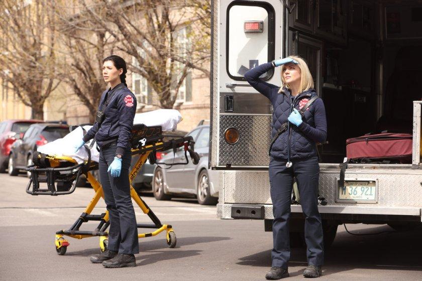"CHICAGO FIRE -- ""What Comes Next"" Episode 914 -- Pictured: (l-r) Hanako Greensmith as Violet, Kara Killmer as Sylvie Brett -- (Photo by: Adrian S. Burrows Sr./NBC)"