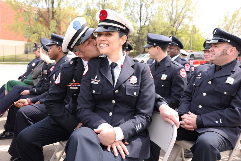 """CHICAGO FIRE -- """"A White Knuckle Panic"""" Episode 915 -- Pictured: (l-r) Taylor Kinney as Kelly Severide, Miranda Rae Mayo as Stella Kidd -- (Photo by: Adrian S. Burrows Sr./NBC)"""