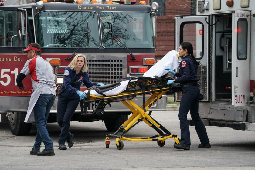 "CHICAGO FIRE -- ""A White Knuckle Panic"" Episode 915 -- Pictured: (l-r) Kara Killmer as Sylvie Brett, Hanako Greensmith as Violet -- (Photo by: Lori Allen/NBC)"