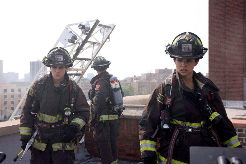 "CHICAGO FIRE -- ""Mayday"" Episode 1001 -- Pictured: (l-r) Alberto Rosende as Blake Gallo, Miranda Rae Mayo as Stella Kidd -- (Photo by: Adrian S. Burrows Sr./NBC)"